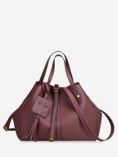 Buckle Strap Studs Tassel Handbag - Wine Red