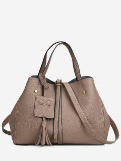 Buckle Strap Studs Tassel Handbag - Khaki