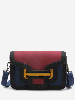 Stitching Color Blocking Crossbody Bag - Red