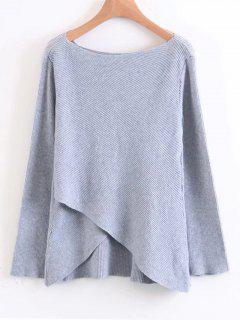 Layered Asymmetrical Pullover Sweater - Gray