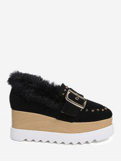 Faux Fur Ankle Studs Platform Shoes - Black 36