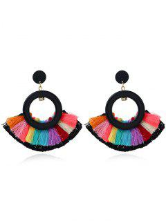 Circle Sector Multicolor Tassel Earrings - Black