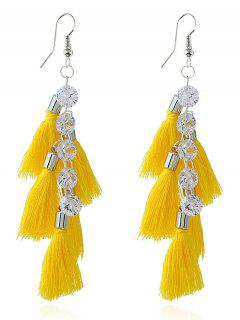 Tassels Rhinestone Embellished Pendant Hook Earrings - Yellow