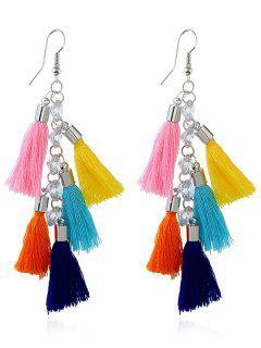 Tassels Rhinestone Embellished Pendant Hook Earrings