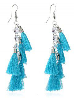 Tassels Rhinestone Embellished Pendant Hook Earrings - Blue