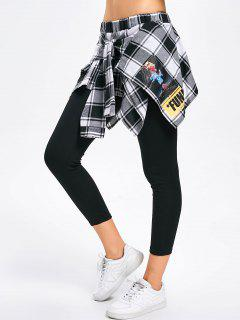Tied Checked Skirted Leggings - White And Black 2xl