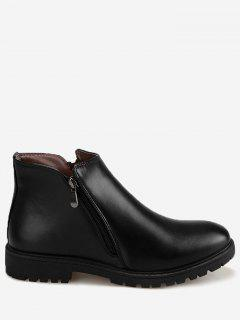 Faux Leather Side Zip Ankle Boots - Black 39