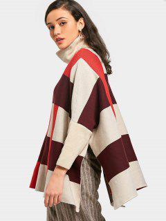 Übergröße Pullover Mit Schlitz Und Rollkragen  - Mehrfarbig