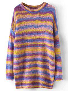 Long Fuzzy Striped Pullover Sweater - Streifen