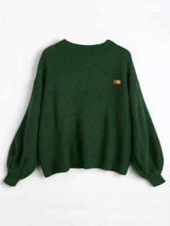 ZAFUL Oversized Chevron Patches Pullover Sweater - Green