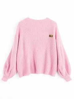 Oversized Chevron Patches Pullover Sweater - Pink