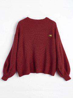 Oversized Chevron Patches Pullover Sweater - Wine Red
