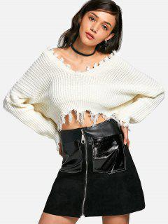 Oversized Frayed Cropped Pullover Sweater - White
