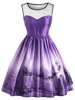 Christmas Sled Mesh Panel Vintage Dress - Purple Xl