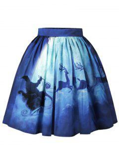 Christmas Santa Claus Elk Moon Print Skirt - Blue M