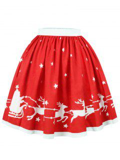 Christmas Elk Star Print A Line Skirt - Red Xl