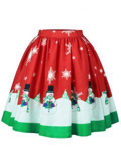 Christmas Snowman Snowflake Print A Line Skirt - L