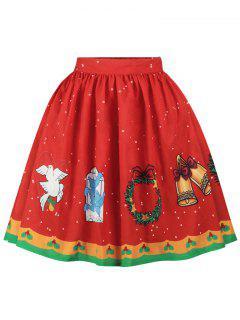 Christmas Bell Bird Print A Line Skirt - Red Xl