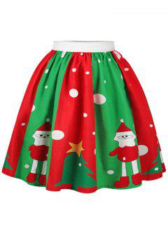 Christmas Snowman Tree Polka Dot Print Skirt - Xl