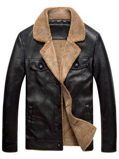 Turndown Collar Single Breasted PU Leather Fleece Jacket - Black 4xl