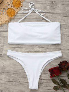 High Cut Bandeau Thong Bathing Suit - White S