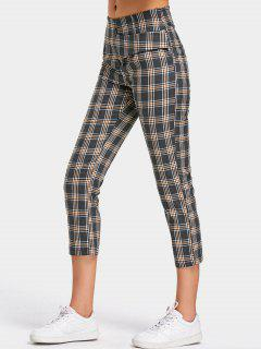 Back Faux Pocket Checked Capri Pants - Checked M