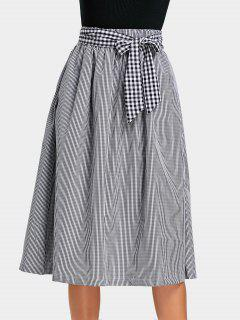 Self Tie Bowknot Checked Skirt With Pockets - Checked M