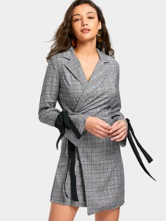 Self Tie Checked Mini Blazer Dress - Checked M