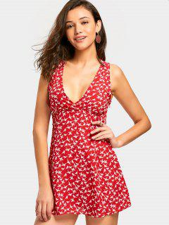 Plunging Neck Bird Print Mini Dress - Red M