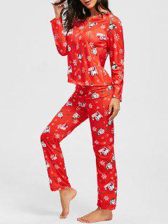 Weihnachten Schneeflocke Print Zip Pyjama Set - Rot S