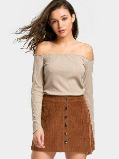 Off The Shoulder Ribbed Knitted Top - Light Khaki S