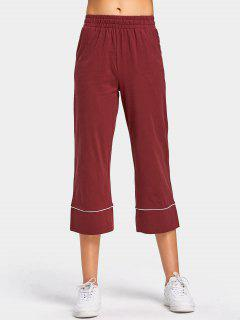 High Waisted Wide Leg Cropped Pants - Dark Red