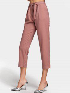 Side Pockets Slit Capri Pants - Bean Paste Color M