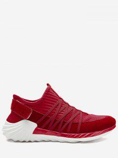 Striped Slip On Criss Cross Casual Shoes - Red 41