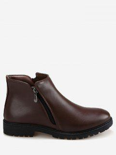 Faux Leather Side Zip Ankle Boots - Brown 43