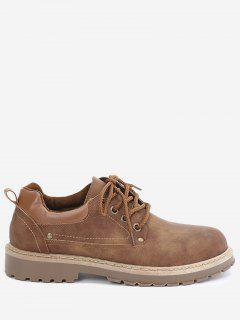 Faux Leather Rivets Casual Shoes - Brown 42