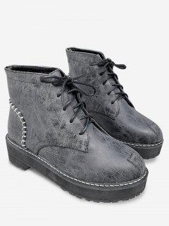 Tie Up Sewing Thread Retro Ankle Boots - Black Grey 35