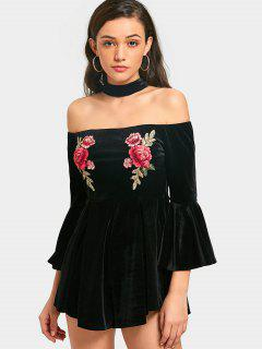 Floral Embroidered Choker Off Shoulder Romper - Black Xl
