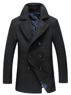 Turndown Collar Double Breasted Longline Woolen Peacoat - Black 2xl