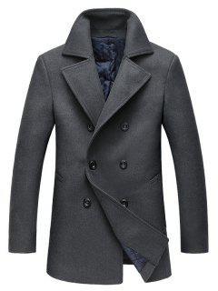 Turndown Collar Double Breasted Longline Woolen Peacoat - Gray 2xl