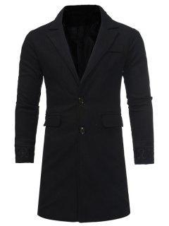 Turndown Collar Embroidered Longline Woolen Coat - Black 3xl