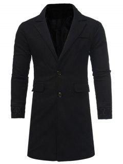 Turndown Collar Embroidered Longline Woolen Coat - Black 2xl