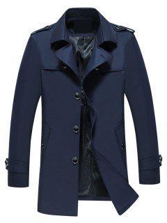 Manteau Long à Boutonnage Simple à Col Rabattu - Bleu Cadette Xl