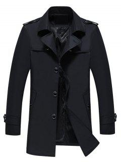Turndown Collar Epaulet Single Breasted Coat - Black L