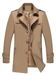 Turndown Collar Epaulet Single Breasted Coat - Khaki L