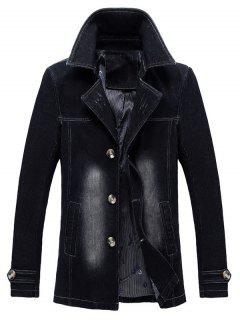 Turndown Collar Bleached Effect Ripped Denim Coat - Black Xl