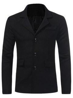 Turndown Collar Single Breasted Pocket Woolen Coat - Black Xl