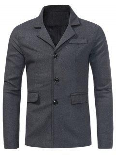 Turndown Collar Single Breasted Pocket Woolen Coat - Deep Gray Xl