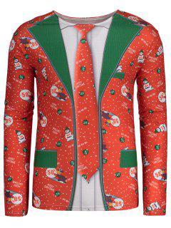 Rundhalsausschnitt Langarm Weihnachten T-shirt - Rot 2xl