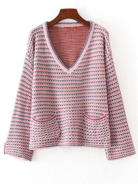 shops V Neck Heathered Pullover Sweater - PURPLE ONE SIZE Mobile